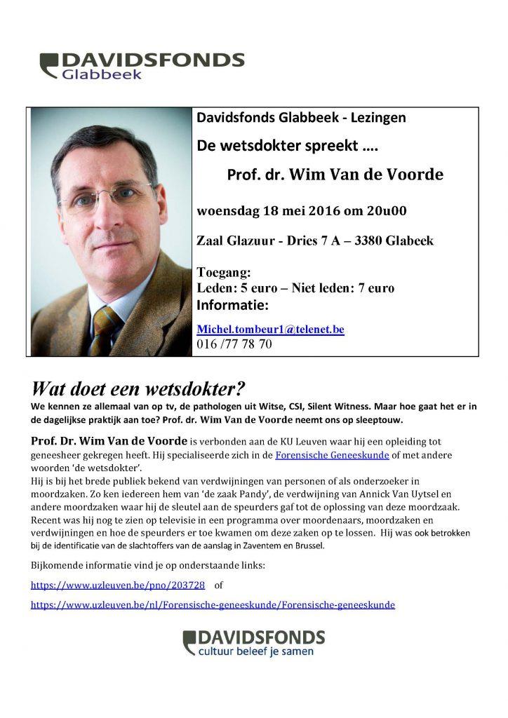 Lezing 'De wetsdokter spreekt...'. Prof. Dr. Wim Van de Voorde